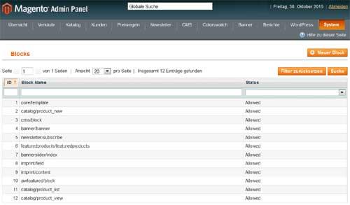 Permission-Blocks Template-Blöcke in Magento CE 1.9.2.2 bzw. Patch SUPEE-6788