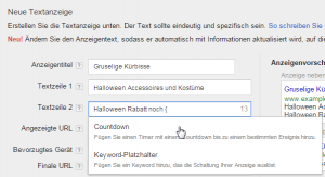 AdWords Countdown Auswahl