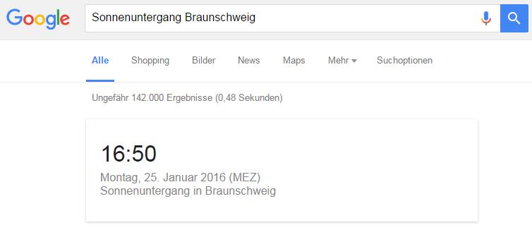 Google Suche Sonnenuntergang Braunschweig