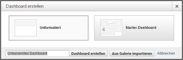 Google Analytics Dashboard erstellen