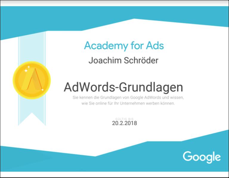 Google AdWords Grundlagen zertifizierter Trainer Joachim Schröder