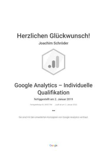 Google Analytics zertifizierter Trainer Joachim Schröder