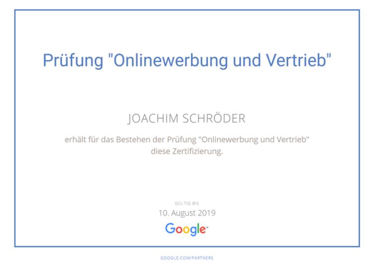 Google Onlinewerbung Vertrieb Zertifikat Joachim Schröder