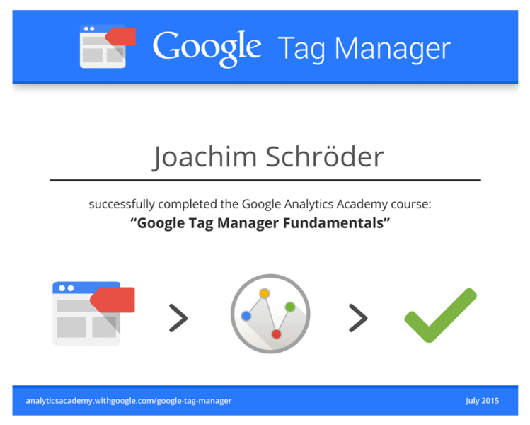Google Tag Manager zertifizierter Trainer Joachim Schröder