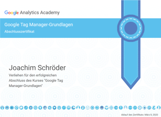 Joachim Schröder Google Tag Manager Zertifikat
