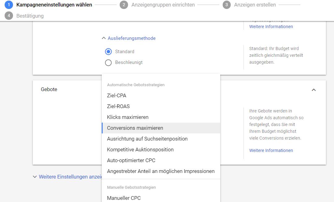 Google Ads – Automatische Gebotsstrategien für das Suchnetzwerk