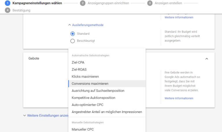 Kampagneneinstellungen_-_Geboteuebersicht-768x457 Google Ads - Automatische Gebotsstrategien für das Suchnetzwerk