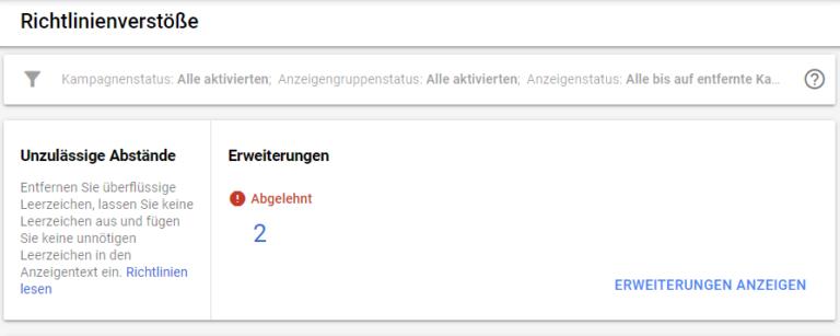Richtlinienverstoß-768x307 Google Ads Richtlinienmanager