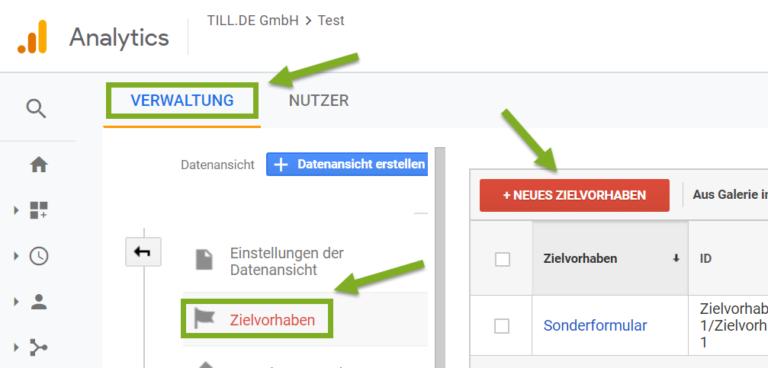 Google-Analytics-Zielvorhaben-Screenshot-768x368 Erstellung von Zielvorhaben in Google Analytics