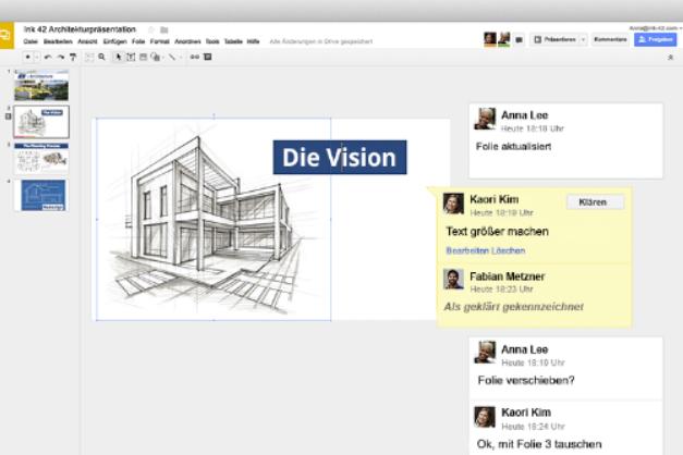 Google-Präsentation-Oberfläche Google Präsentationen - Professionelle Präsentationen im Handumdrehen