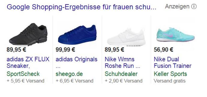 Google-Shopping-Oberfläche Google Shopping - eine Werbeplattform für Händler