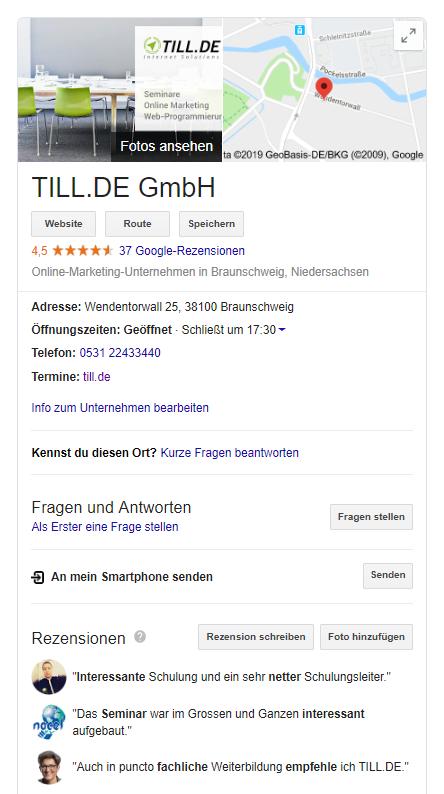 TILL.DE-My-Business-Eintrag Google My Business macht Ihr Business sichtbarer und auffindbarer