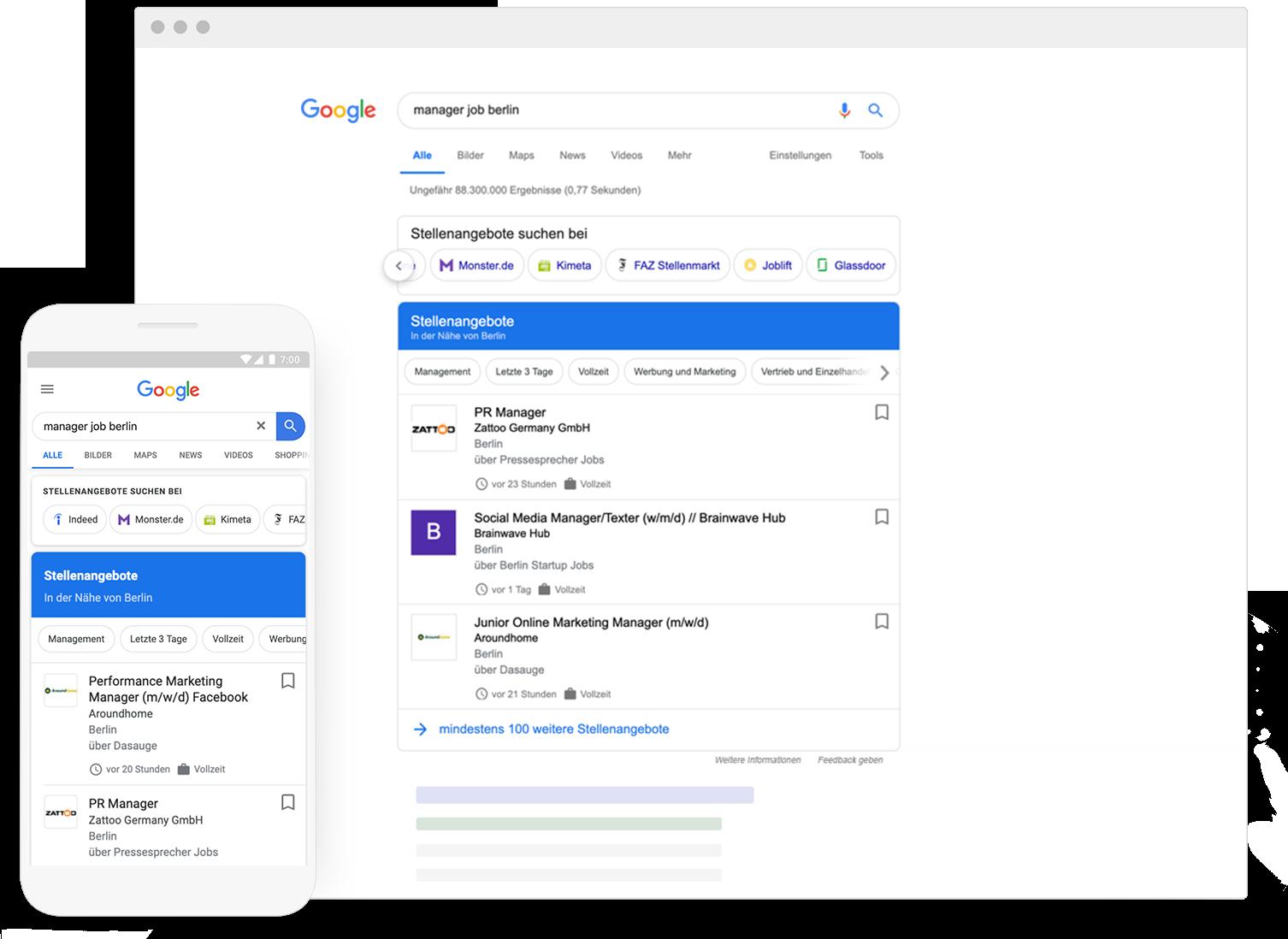Google Stellenangebote Vorschauansicht