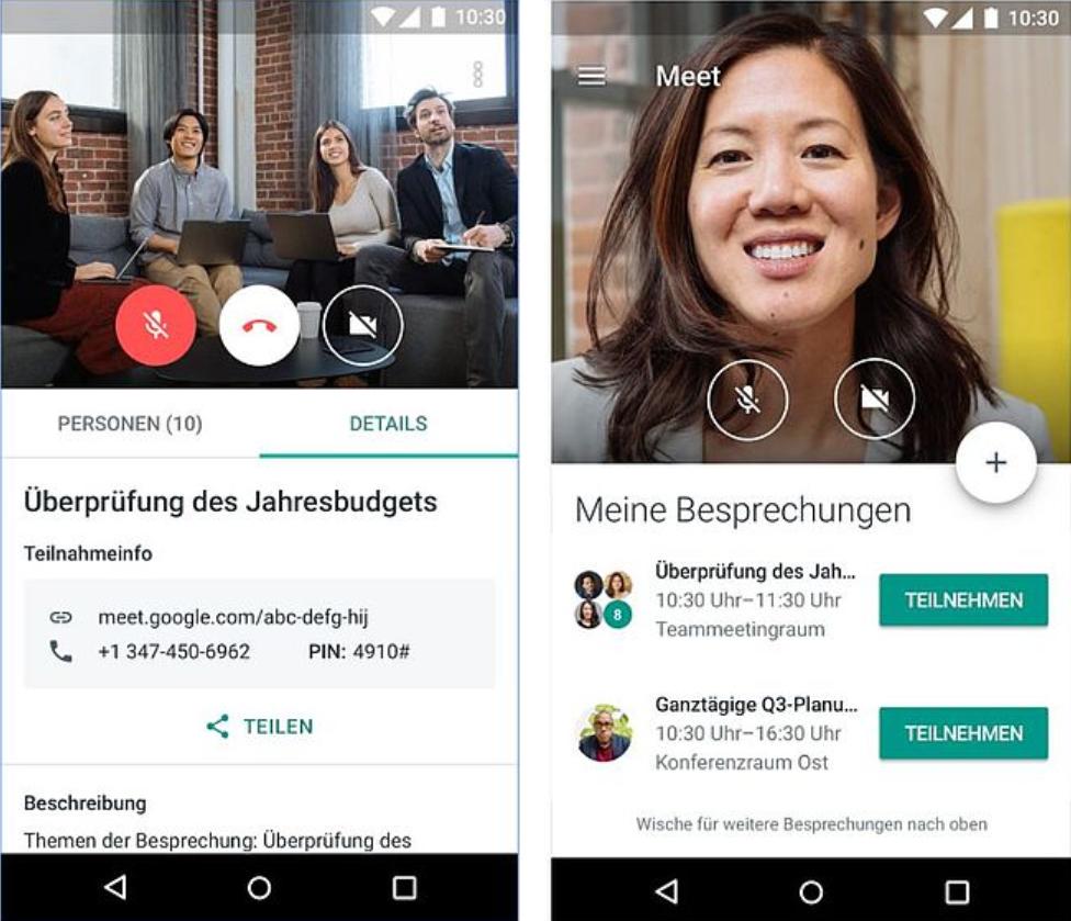 Google-Hangout-Oberfläche Google Meet - Clevere Konferenzen