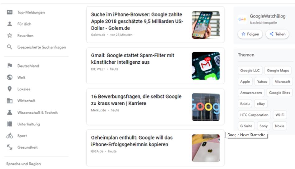 Google-News-Öberfläche Google News - Nachrichten für Sie zusammengestellt