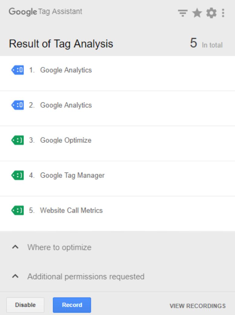 Tag-Assistant-Oberfläche Google Tag Assistant - Die sofortige Prüfung Ihrer Tags