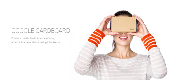 Beispiel Bild einer Frau mit Google Cardboard