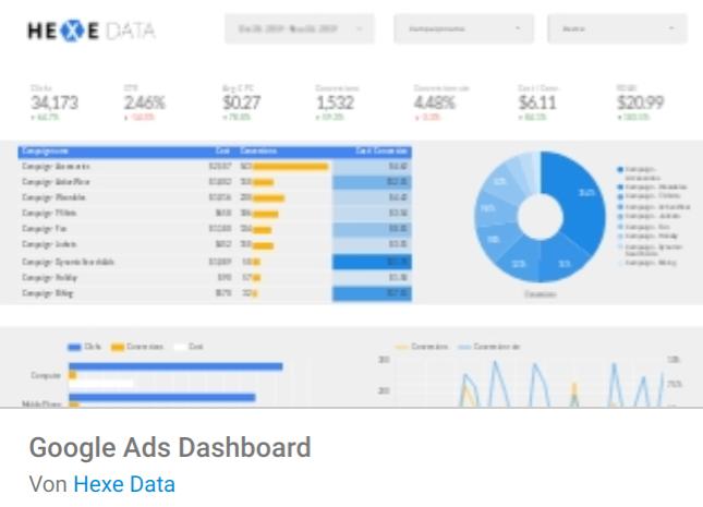 ads-dashboard Liste mit Google Data Studio Report Templates