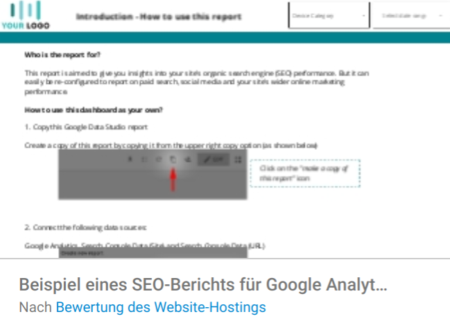 beispiel-seo-bericht Liste mit Google Data Studio Report Templates