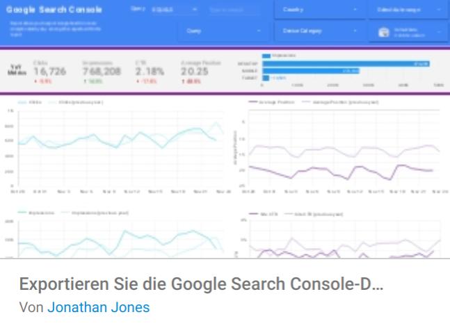 export-google-search-console-daten Liste mit Google Data Studio Report Templates