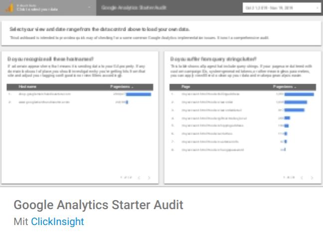 ga-starter-audit Liste mit Google Data Studio Report Templates