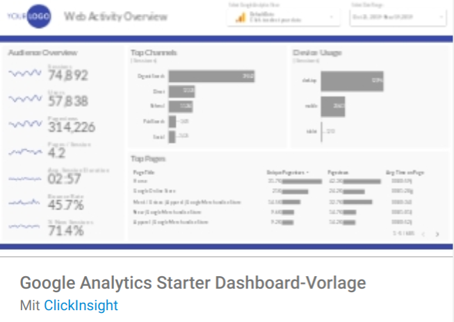 ga-starter-dashboard Liste mit Google Data Studio Report Templates