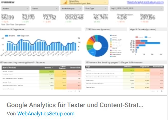 ga-texter Liste mit Google Data Studio Report Templates