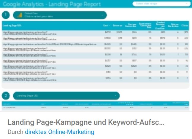 landingpage-kampagnen Liste mit Google Data Studio Report Templates