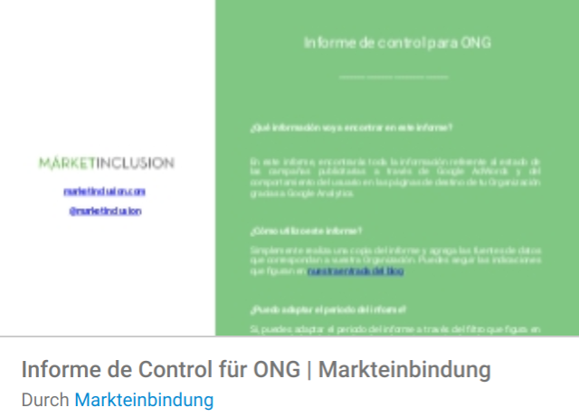 markteinbindung-ong Liste mit Google Data Studio Report Templates