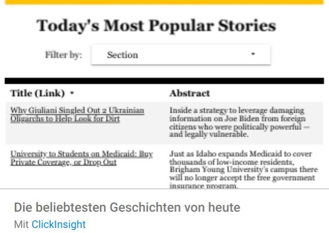 popular-stories Liste mit Google Data Studio Report Templates