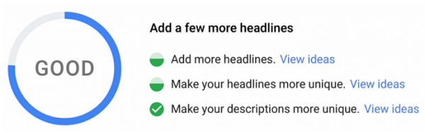 Google Ad Strength Oberfläche