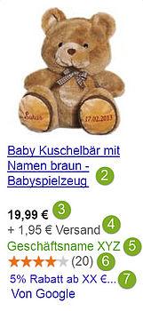 Google Shopping Anzeige Bausteine Screenshot deutsch
