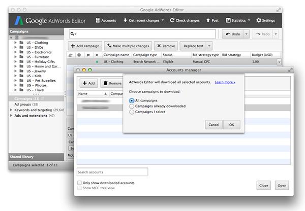 TILL.DE-Google-AdWords-Editor-Kontenansicht Google AdWords Editor