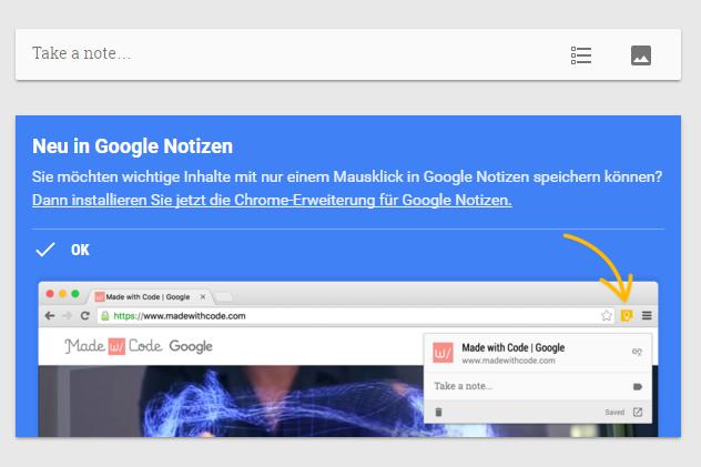 Google Keep Bildausschnitt