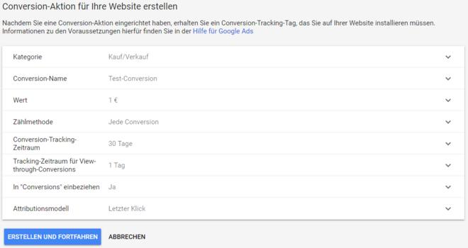 Neue Conversion Aktion Website erstellen
