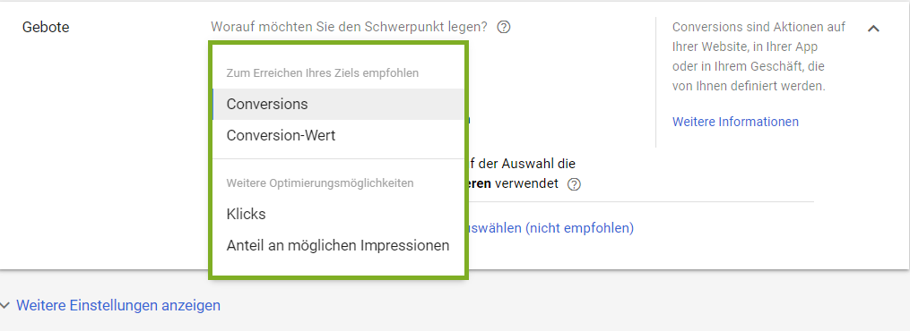 Google Ads: Gebotsstrategien