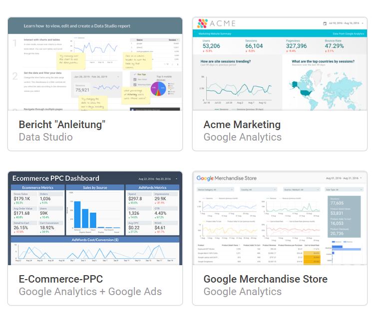 Übersicht Data Studio Berichte