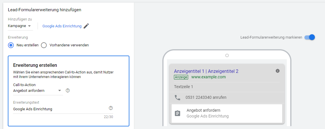 Google Ads Lead-Formularerweiterungen - Erweiterung erstellen