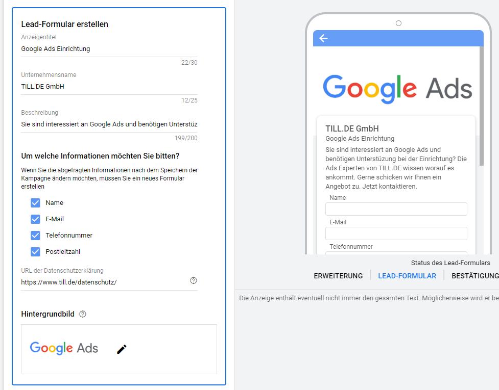Google Ads Lead-Formularerweiterungen - Lead-Formularerweiterung erstellen