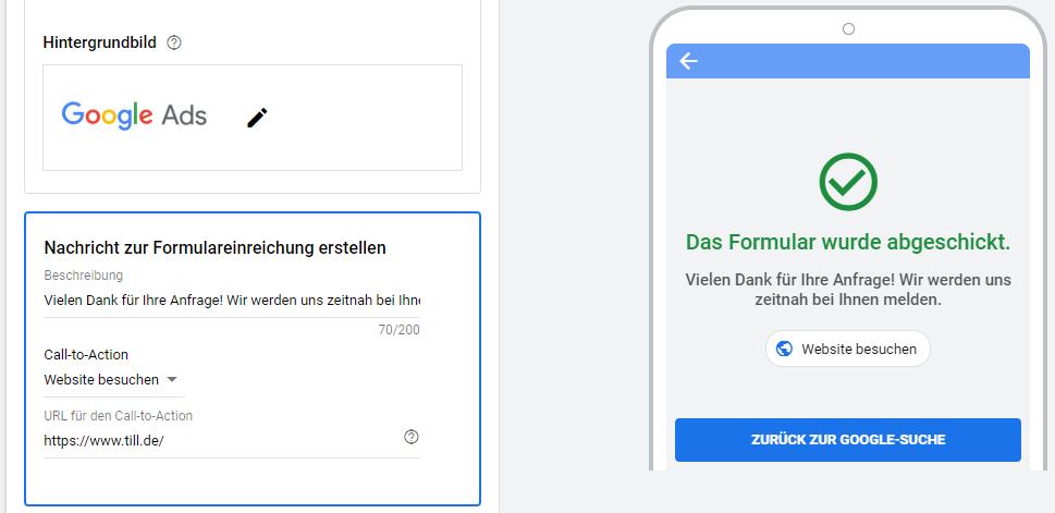 Google Ads Lead-Formularerweiterungen - Nachricht zur Formulareinreichung erstellen