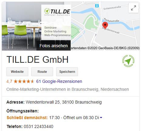GMB_TILL.DE Eintrag in der Google Suche