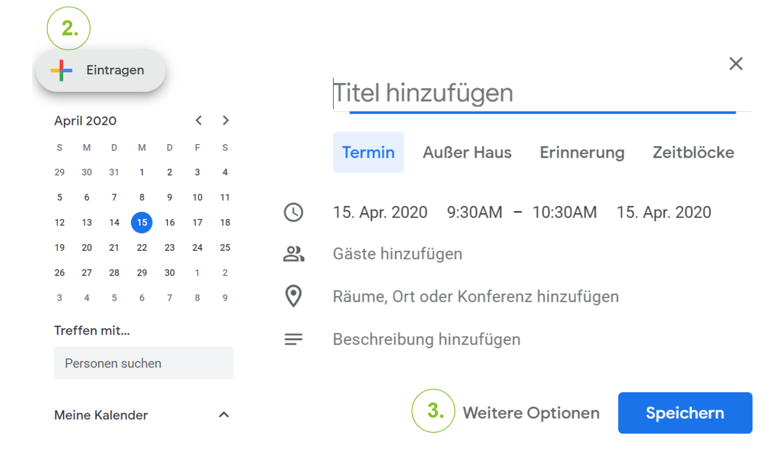 """Einen Google Meet Termin organisieren und """"Weitere Optionen"""" aufrufen."""