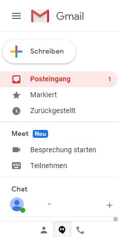Google Meet zügig über das Mail Postfach starten.
