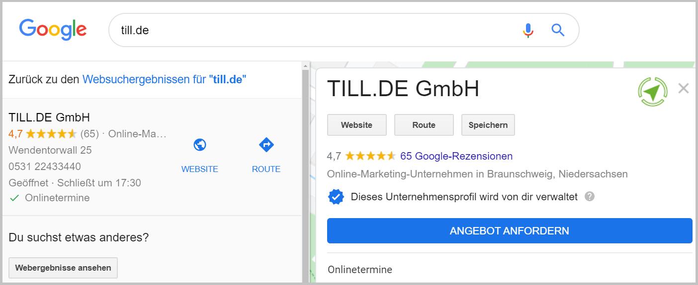 Ansicht Google My Business Eintrag und neue Attribute
