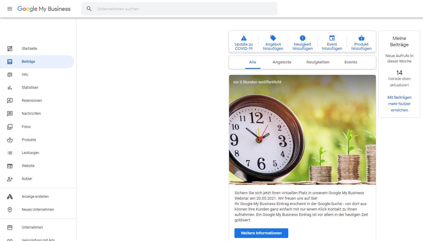 Google My Business Beitrag