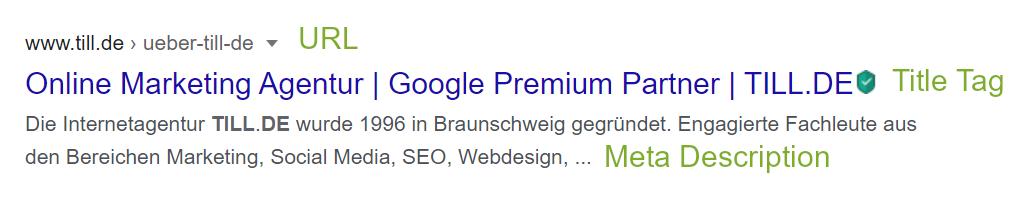 Suchmaschineneintrag TILL.DE