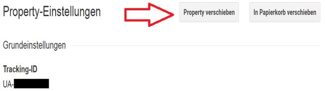 Google Analytics Screenshot: Property verschieben