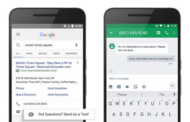 Google AdWords SMS-Erweiterung Beispiel