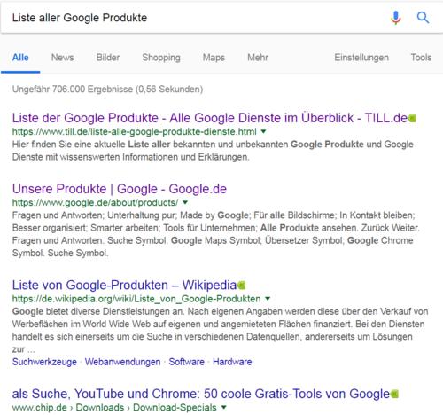 """Dieses Bild zeigt unseren Screenshot aus den Google Suchergebnissen zum Suchbegriff """"Liste aller Google Produkte"""""""