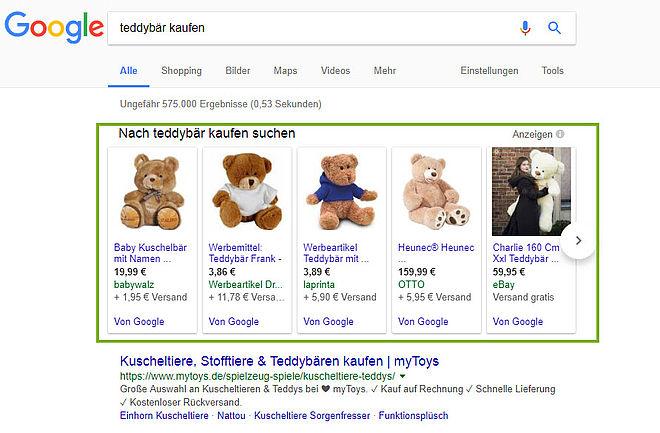 Google Shoppinganzeigen Screenshot deutsch